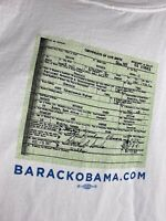 Barack Hussein Obama Made In The USA T Shirt Birth Certificate Size XXL VTG
