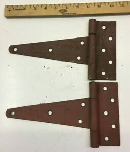 2 VINTAGE 10 1/2'' FARM BARN DOOR GATE HAND FORGED STRAP HINGES GREAT RED PATINA