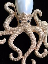 "GOLD PEARL SEA CREATURE OCTOPODES OCTO OCTOPI OCTOPUS PIN BROOCH JEWELRY 2"" 3D"