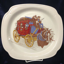 """SYRACUSE CHINA WELLS FARGO STAGE COACH 11 3/8"""" OVAL SERVING PLATTER USA"""