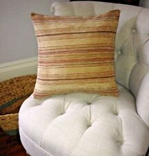 "Parker Knoll Gold Stripe Flame Cushion Cover 18""x18"" *Reversible"