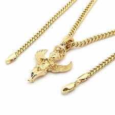 """Men 14k Gold Plated Lifted Wings Angel Pendant Hip-Hop 3mm 30"""" Cuban Chain A01"""