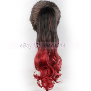 Women's Hair Ponytails Claws Extensions Long Curly Wavy 2 Tones Ombre Synthetic