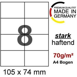 50 A4 Blatt Etiketten 105x74 mm Format wie Avery Zweckform 3427 3166 Herma 4626