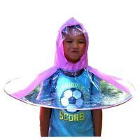 Kids Hands Free Foldable Wearable Raincoat Umbrella Hat for Raining Fun (La V2X1