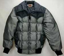 Vintage Comfy Mens Down Puffer Jacket Coat Size Medium Gray Quilted Zip Western
