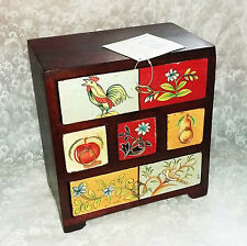 Vintage look~Hand painted wooden chest of drawers from India 20cm-NEW