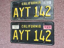 1963 CALIFORNIA LICENSE PLATES w 1968 + 1969 Tag ----------------------- AYT 142
