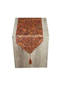 3 meter long Banquet table runner Gold & Red Paisley made in the UK