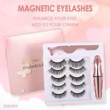 Conjunto de 5 Pares Impermeable Eyeliner magnético con las pestañas y Pinzas Largas Pestañas #