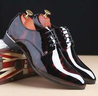 Mens Chic Tuxedo Formal Dress Shoes Cap Toe Patent Leather Lace Up Oxfords Ths01