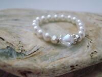 White Pearl Ring, Crystal Finger Toe Ring, Ball Beaded Stretch, Stackable Ring