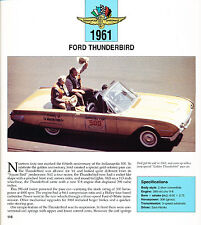 1961 Ford Thunderbird Indy 500 Race Pace Car Review Print Article J460