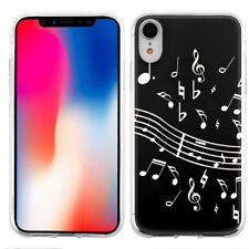 For Apple iPhone XR TPU Phone Case - Music Notes / Black