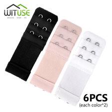 6X 3 Rows 2 Hook Black/White/Nude Bra Extender Lingerie Strap Belt Adding