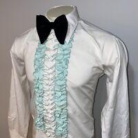 Vtg 60s AFTER SIX Tuxedo Shirt Ruffles Dress Green Mid Century Prom MENS LARGE