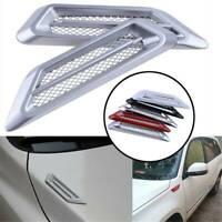 Universal Side Wing Car Air Flow Intake Vent Trim Fender Scoop Bonnet Silver UK