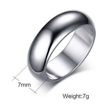 Size 6-13 Stainless Steel Smooth Band Silver/Gold/Black/Blue/Rose Gold Mens Ring