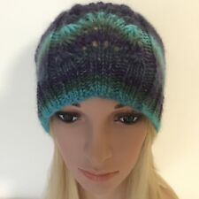 HAND KNITTED LADIES  EUROPEAN WOOL WITH LACE PANEL BEANIE HAT SIZE  LARGE