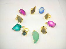 18KT GOLD PLATED ALLOY RINGS&PENDANTS SUGAR DRUZY WHOLESALE LOTS 10 PCS OVERLAY