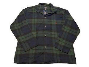 NWT Polo Ralph Lauren PONY Tartan LS Button Down Men's Sleepwear Pajama Top Sz L