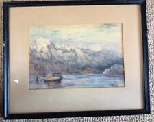 LEONARD HAMBLY   Framed w/ Glass - Landscape Water Color 1936   BC,Canada 18x15