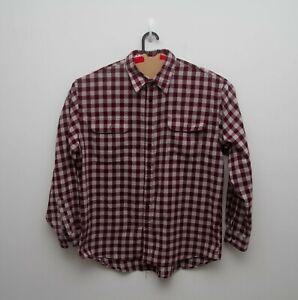 Bisley Mens Maroon Check Long Sleeve Button Front Shirt - sz XL