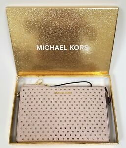 NEW MICHAEL KORS PINK BLOSSOM PERFORATED PVC+GOLD TOP ZIP,CLUTCH,WRISTLET,WALLET