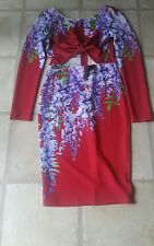 Ginger Fizz dress BNWT red with lilac flower print size L