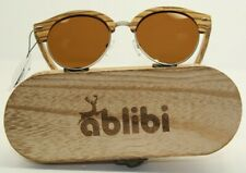 Ablibi Bamboo Wood Semi Rimless Sunglasses With Polarized Lenses In Original Box