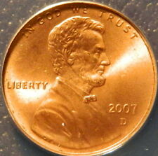 2007 D LINCOLN CENT ANACS MS 67 RED  SATIN FINISH