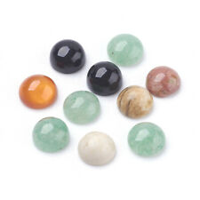 10pcs Gemstone Cabochons Flat Round Mixed Stone Mixed Color 6x3mm Craft Makings