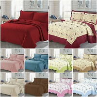 3 Piece Quilted Bedspread Bed Throw Comforter Embossed Bedding Set + Pillowcases