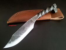 "9"" Twisted Railway Spike Knife + Leather Belt Sheath Hand Forged Carbon Steel"