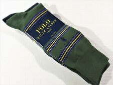 POLO Ralph Lauren 2 pair socks green striped and navy blue solid