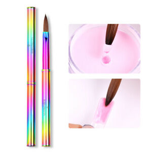 Nail Acrylic Extension Crystal Powder Brush Metallic Handle Pen Nail Art Tool