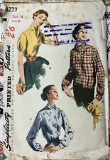 """1950's Simplicity Sewing Pattern 1277 Blouse and Overblouse Bust 36"""" Vintage"""