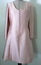 Vintage 50s women dress pink raw silk wedding occasion aline petite sz 10 12 14