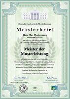 Premium Meisterbrief, Urkunde, Zeugnis, personalisiert und fälschungssicher