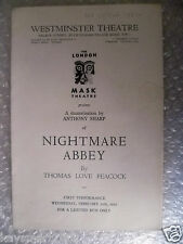1952 Theatre Programme NIGHTMARE ABBEY-Thomas Love Peacock,Anthony Sharp