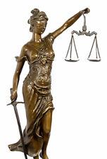 JUSTIZIA Bronze Figur JUSTITIA GÖTTIN DER GERECHTIGKEIT, signiert