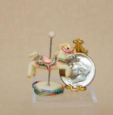 Vintage Clay Miniature Carousel Horse Figurine Artisan Dollhouse Miniature 1:12