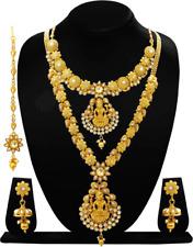 Indian Fashion Temple Jewelry Necklace Set Gold Plt Bollywood Wedding 5Pc Tikka