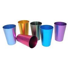 Jeweltone Aluminum Tumbler Set -6-Piece Unbreakable Metal Cups Holds 16 oz. Each