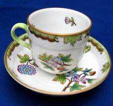 HEREND HUNGARY PORCELAIN QUEEN VICTORIA GREEN DEMITASSE CUP & SAUCER 1709/VB