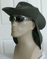 New Sun Hat Olive Green Mesh Crown Outback Safari Fishing Bucket Neck Flap L