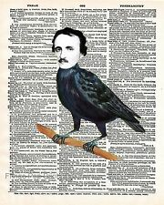 Edgar Allan Poe Art Print 8 x 10 - Dictionary Page - Poe as Raven - Surreal Goth