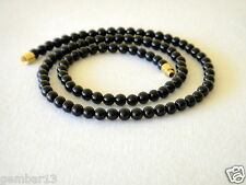 "Genuino Naturale 4mm Nero Onyx COLLANA ROUND BEADS 17 "" 4 mm Nero Onyx beads"