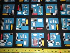 Todays Special Cotton Fabric Fifties Diner Patch Allover Cotton Fabric Blue