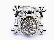 Silver Crystal Frog Ring
